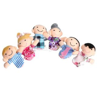 6pcs Family Finger Puppets Cloth Doll Baby Educational Hand Toy Story Kid CU3