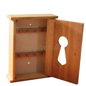Hevea Rubber Wood Key Cupboard Wooden Storage Box Wall Cabinet 8 Hooks Holder