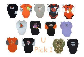 Baby Boys Girls Unisex Halloween Bodysuit Romper Creeper Top Shirt Holiday 1st