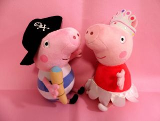 Large Ty Peppa Pig Peppa Princess George Pirate Soft Plush Toy 12 inches 30cm