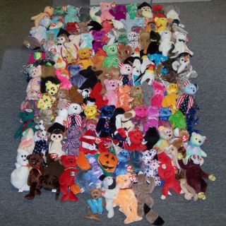 229 Ty Beanie Babies Collection Big Beanies Lot of Bears Dogs Animals More