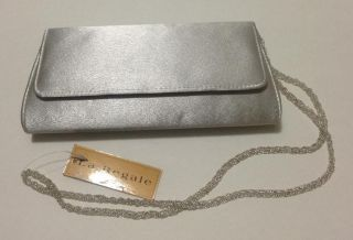 La Regale Satin Silver Shiny Evening Clutch Purse Beaded Strap Magnetic Close