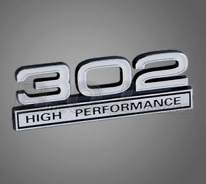 Ford Mustang White Chrome 302 High Performance Emblem