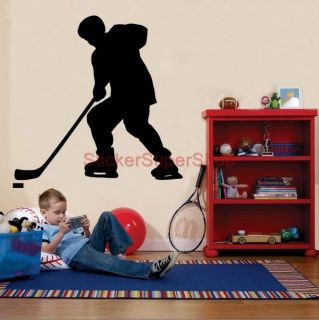 Hockey Player Silhouette Decal Personalised Name Wall Sticker Home Decor Art