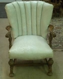 Vintage Maybe Antique Hand Carved Oak Grand Chair Leather with Roses Pattern WOW