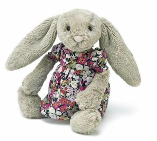 "Jellycat Betsy Floral Bashful Beige Bunny Rabbit Soft Plush Toy 9"" 23cm New"