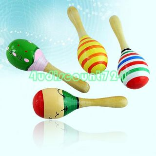 Pattern Wooden Babies Kids Percussion Bat Rap Sand Hammer Rattle