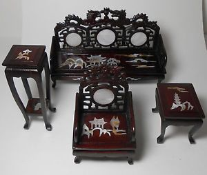 Miniature Dollhouse Furniture Asian Oriental Inlaid Wood Couch Chair Table Plus