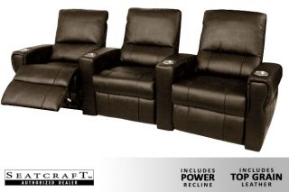 Seatcraft Pallas Row of 3 Seats Home Theater Seating Chairs Power Brown