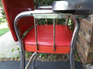 Vtg Cosco Metal Red High Chair Stainless Steel Tray