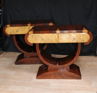 Pair Art Deco Console Tables Hall Table Blonde Walnut 1920s