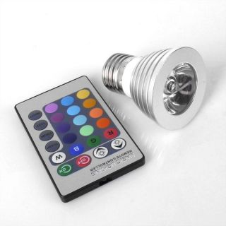 LED RGB Color Changing Light Bulb Wireless Remote E27 3W Party Light Control