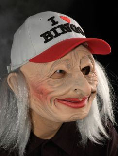 Funny Bingo Grandma Lady Old Woman Female Scary Halloween Costume Mask