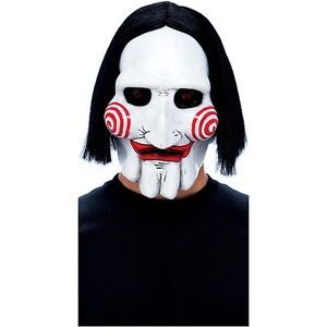 Talking Jigsaw Puppet Mask Saw Adult Scary Horror Movie Halloween Costume Acsry