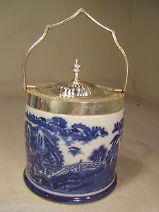 Silver Plate Lid Flow Blue Willow Pattern Biscuit Barrel Ice Bucket