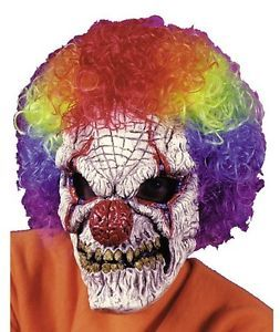 Adult Scary Horror Clown Mask with Wig Costume New FW8545CL