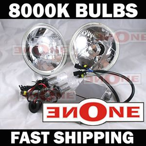 "HID Headlight Conversion Kit w 8000K Read HID Bulbs 7"" Chrome Housings Bluish"