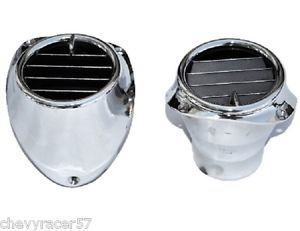 57 1957 Chevy Factory A C Air Conditioning Chrome Dash Vents and Housings Pair