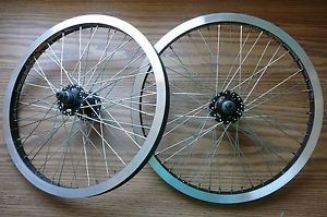 "20"" BMX Wheel Set Silver Alex MT28 Rims Redline Hubs Flip Flop Rear 48 Spoke New"