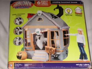 RARE Gemmy Over 6' Lighted Rotating Haunted House Halloween Airblown Inflatable