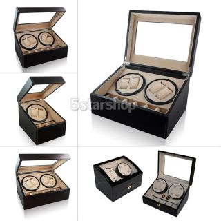 12 Brown Leather Mens Watch Box Display Case Organizer Glass Top Jewelry Storage