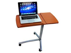 Angle Height Adjustable Rolling Laptop Desk Cart Over Bed Hospital Table Stand