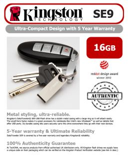 Kingston 16GB DataTraveler SE9 USB Flash Drive Pen Memory Stick Metal PC Laptop