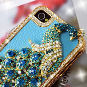 iPhone 4G 4GS 4S Blue Leather Peacock Diamond Rainstone Bling Case Cover Skin