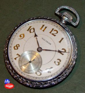 Antique Art Deco Waltham 17 Jewel Pocket Watch Supreme I w C Co Case