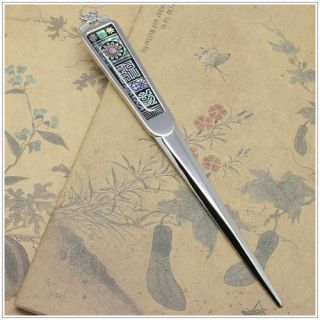 Korean Style Unique Pattern Mother of Pearl Letter Opener Metal Sword Bookmark
