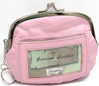 Pink Leather Wallet Frame Coin Purse Kiss Lock Key Chain ID Window Organizer S
