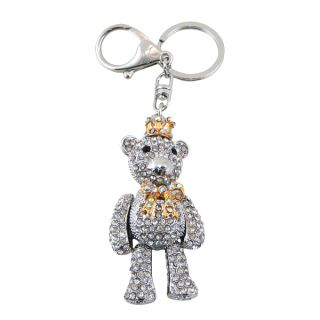 Swiveling Royal Teddy Bear Purse Charm Keychain Two Tone Gold Silver New