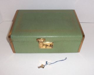 Vintage Art Deco Embossed Leather Jewelry Box Brass Accented Sides Key