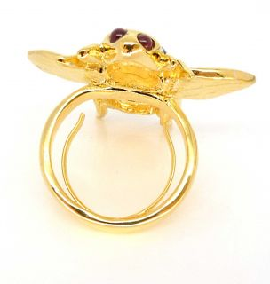 Kenneth Jay Lane KJL Enamel Crystal Bee Cocktail Ring