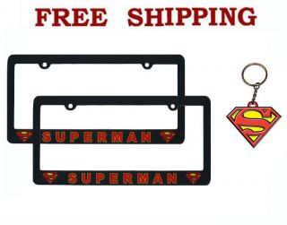 New DC Comics Superman Classic Logo Car Truck License Plate Frames Keychain