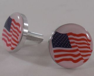 "2 United States ""American Flag"" License Plate Frame Bolts Motorcycle Fastener"