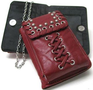 Dark Red Silver Studded Cell Phone Case Mini Wallet Combo
