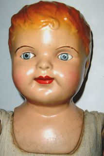 "Antique Am Doll Co Composition Doll Blue Eyes Red Hair Large 25"" Straw Stuffed"