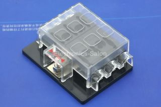 6 Position ATO ATC Fuse Panel w Cover and Label Fuse Block