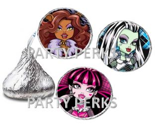 Monster High Birthday Party Candy Wrappers Stickers Favors Labels Fits Kisses