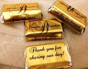 180 Gold Foil Monogram Wedding Candy Wrappers Stickers Labels Favors Miniatures