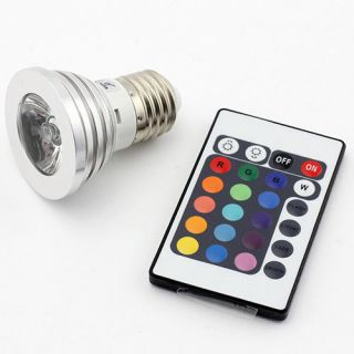 E27 3W RGB Multicolor LED 16 Color Changing Lamp Light Bulb IR Remote Control