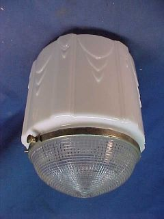 1930s Art Deco Design White Glass Ceiling Light Fixture Shade from Dance Hall