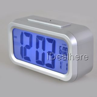 Sliver Large Display Digital Date Time Alarm Snooze Clock Blue LED Light