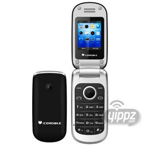Icemobile Flip Style Black Unlocked Worldwide Quad Band GSM Dual Sim Cell Phone