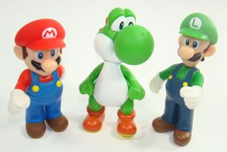5 Super Mario Brother Movable Figures Yoshi Green Luigi Toad Toadette Mushroom