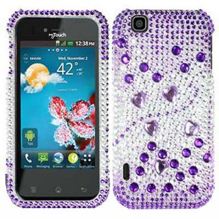 Purple Silver Hearts Bling Crystal Case Cover for LG myTouch Maxx Touch E739BK