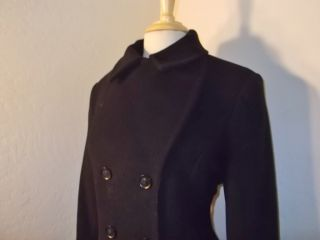 DKNY Black Sophia Fit Flare Double Breasted Coat 14