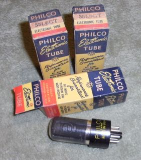 3 RCA Philco 35L6GT Radio Tubes Nice Original Boxes Test 120 of New