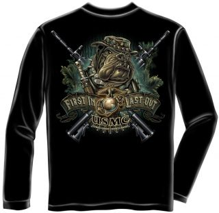 USMC Long Sleeve Tshirt First in Last Out United States Marine Corps Devil Dog